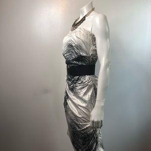 Strapless white dress with black detail